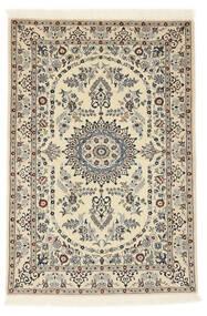 Nain 6La Matto 100X147 Itämainen Käsinsolmittu Beige/Vaaleanharmaa (Villa/Silkki, Persia/Iran)