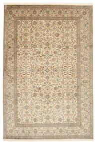 Kashmir 100% Silkki Matto 184X276 Itämainen Käsinsolmittu Vaaleanharmaa/Vaaleanruskea (Silkki, Intia)