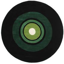 Schallplatte Handtufted Matto Ø 250 Moderni Pyöreä Tummanvihreä Isot (Villa, Intia)