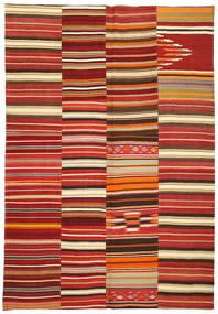 Kelim Patchwork Matto 245X360 Moderni Käsinkudottu Tummanpunainen/Ruoste (Villa, Turkki)