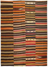 Kelim Patchwork Matto 254X358 Moderni Käsinkudottu Tummanruskea/Punainen Isot (Villa, Turkki)
