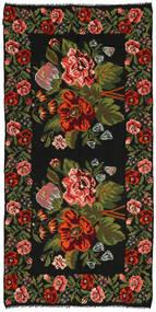 Ruusukelim Matto 158X315 Itämainen Käsinkudottu Musta/Tummanvihreä (Villa, Moldova)