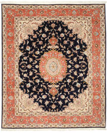 Tabriz 50 Raj Silkillä Matto 200X246 Itämainen Käsinsolmittu Tummanruskea/Tummanvioletti (Villa/Silkki, Persia/Iran)