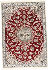Nain 9La Matto 92X136 Itämainen Käsinsolmittu Vaaleanharmaa/Tummanpunainen/Beige (Villa/Silkki, Persia/Iran)