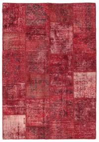 Patchwork Matto 158X230 Moderni Käsinsolmittu Tummanpunainen/Punainen (Villa, Turkki)
