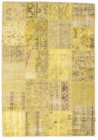 Patchwork Matto 159X232 Moderni Käsinsolmittu Tummanbeige/Keltainen (Villa, Turkki)