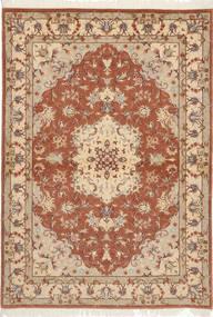 Tabriz 50 Raj Silkillä Matto 105X150 Itämainen Käsinsolmittu Ruskea/Vaaleanruskea (Villa/Silkki, Persia/Iran)