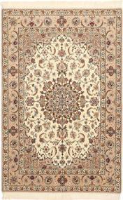 Isfahan Silkkiloimi Matto 106X163 Itämainen Käsinsolmittu Beige/Ruskea (Villa/Silkki, Persia/Iran)