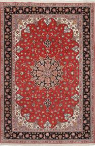 Tabriz 50 Raj Silkillä Matto 204X305 Itämainen Käsinsolmittu Tummanpunainen/Tummanruskea (Villa/Silkki, Persia/Iran)