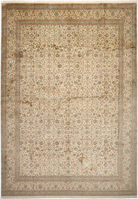Kashmir 100% Silkki Matto 306X436 Itämainen Käsinsolmittu Vaaleanruskea/Beige Isot (Silkki, Intia)