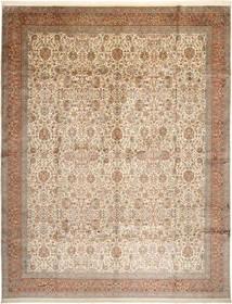 Kashmir 100% Silkki Matto 304X389 Itämainen Käsinsolmittu Ruskea/Beige/Vaaleanharmaa Isot (Silkki, Intia)
