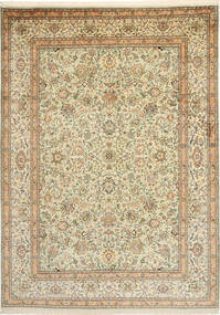 Kashmir 100% Silkki Matto 216X301 Itämainen Käsinsolmittu Tummanbeige/Vaaleanruskea (Silkki, Intia)