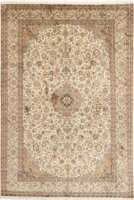 Kashmir 100% Silkki Matto 192X283 Itämainen Käsinsolmittu Beige/Ruskea (Silkki, Intia)