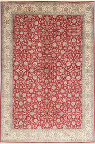Kashmir 100% Silkki Matto 186X277 Itämainen Käsinsolmittu Vaaleanharmaa/Tummanpunainen (Silkki, Intia)