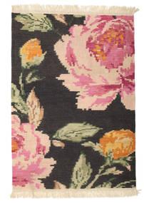Kelim Karabah Sofia - Musta Matto 100X160 Moderni Käsinkudottu Tummanharmaa/Vaaleanpunainen (Villa, Intia)