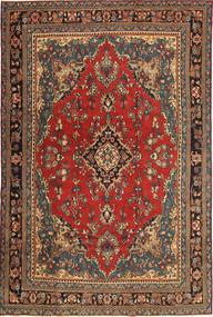 Hamadan Patina Matto 210X312 Itämainen Käsinsolmittu Tummanharmaa/Tummanruskea (Villa, Persia/Iran)