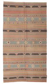 Kelim Semiantiikki Turkki Matto 155X283 Itämainen Käsinkudottu Vaaleanharmaa/Ruskea (Villa, Turkki)