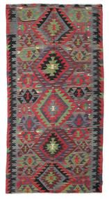 Kelim Semiantiikki Turkki Matto 152X298 Itämainen Käsinkudottu Tummanharmaa/Tummanpunainen (Villa, Turkki)