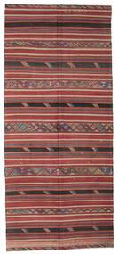 Kelim Semiantiikki Turkki Matto 172X387 Itämainen Käsinkudottu Käytävämatto Tummanpunainen/Musta (Villa, Turkki)