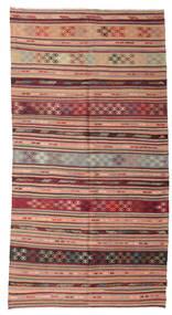 Kelim Semiantiikki Turkki Matto 153X289 Itämainen Käsinkudottu Tummanpunainen/Vaaleanruskea (Villa, Turkki)