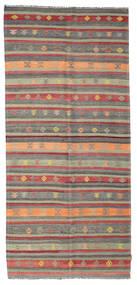 Kelim Semiantiikki Turkki Matto 140X305 Itämainen Käsinkudottu Ruoste/Tummanharmaa (Villa, Turkki)
