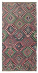 Kelim Semiantiikki Turkki Matto 155X310 Itämainen Käsinkudottu Tummanharmaa/Ruskea (Villa, Turkki)