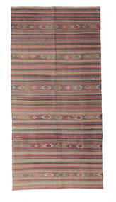 Kelim Semiantiikki Turkki Matto 166X337 Itämainen Käsinkudottu Tummanharmaa/Tummanpunainen (Villa, Turkki)