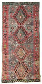 Kelim Semiantiikki Turkki Matto 153X325 Itämainen Käsinkudottu Tummanpunainen/Tummanharmaa (Villa, Turkki)