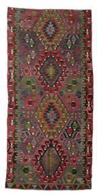 Kelim Semiantiikki Turkki Matto 171X356 Itämainen Käsinkudottu Tummanpunainen/Tummanruskea/Tummanharmaa (Villa, Turkki)