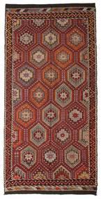 Kelim Semiantiikki Turkki Matto 167X341 Itämainen Käsinkudottu Tummanruskea/Tummanpunainen (Villa, Turkki)