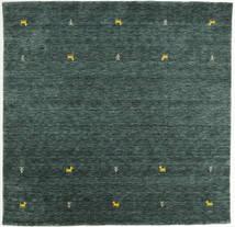 Gabbeh Loom Two Lines - Tummanharmaa/Vihreä Matto 200X200 Moderni Neliö Tummanvihreä/Tumma Turkoosi (Villa, Intia)
