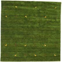 Gabbeh Loom Two Lines - Vihreä Matto 200X200 Moderni Neliö Tummanvihreä (Villa, Intia)