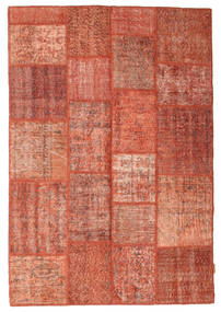 Patchwork Matto 138X202 Moderni Käsinsolmittu Punainen/Tummanpunainen (Villa, Turkki)