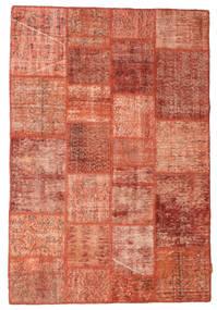 Patchwork Matto 138X202 Moderni Käsinsolmittu Punainen/Vaaleanpunainen (Villa, Turkki)