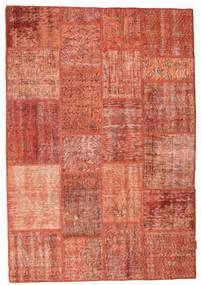 Patchwork Matto 139X203 Moderni Käsinsolmittu Punainen/Vaaleanpunainen/Tummanpunainen (Villa, Turkki)