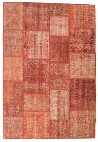 Patchwork Matto 140X203 Moderni Käsinsolmittu Punainen/Tummanpunainen/Vaaleanpunainen (Villa, Turkki)