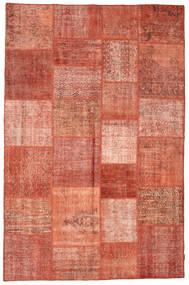 Patchwork Matto 196X301 Moderni Käsinsolmittu Punainen/Tummanpunainen (Villa, Turkki)