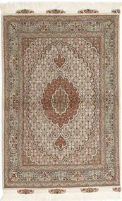 Tabriz 50 Raj Matto 100X150 Itämainen Käsinsolmittu Vaaleanharmaa/Vaaleanruskea (Villa/Silkki, Persia/Iran)