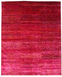 Sari 100% Silkki Matto 244X300 Moderni Käsinsolmittu Punainen/Pinkki (Silkki, Intia)