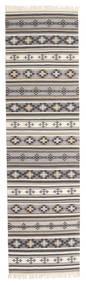 Kelim Cizre Matto 80X300 Moderni Käsinkudottu Käytävämatto Vaaleanharmaa/Beige (Villa, Intia)
