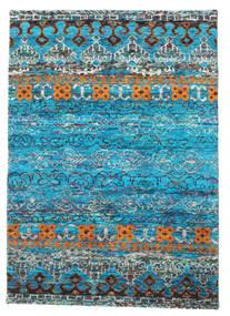 Quito - Turquoise Matto 140X200 Moderni Käsinsolmittu Siniturkoosi/Sininen (Silkki, Intia)