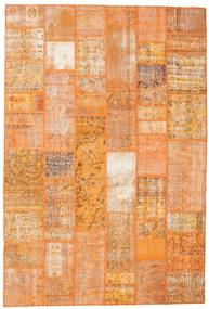 Patchwork Matto 200X298 Moderni Käsinsolmittu Oranssi/Vaaleanruskea (Villa, Turkki)