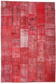 Patchwork Matto 201X296 Moderni Käsinsolmittu Punainen/Ruoste (Villa, Turkki)