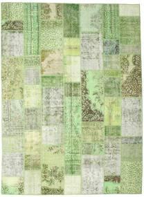 Patchwork Matto 252X346 Moderni Käsinsolmittu Vaaleanvihreä/Pastellinvihreä Isot (Villa, Turkki)