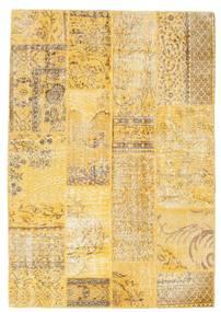 Patchwork Matto 140X202 Moderni Käsinsolmittu Tummanbeige/Keltainen (Villa, Turkki)