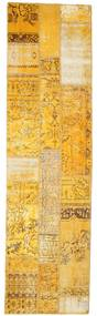 Patchwork Matto 81X299 Moderni Käsinsolmittu Käytävämatto Vaaleanruskea/Keltainen (Villa, Turkki)