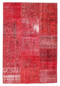 Patchwork Matto 121X178 Moderni Käsinsolmittu Punainen/Ruoste/Pinkki (Villa, Turkki)