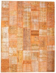 Patchwork Matto 275X364 Moderni Käsinsolmittu Oranssi/Tummanbeige/Vaaleanruskea Isot (Villa, Turkki)