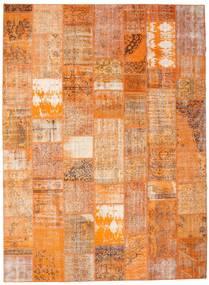 Patchwork Matto 274X373 Moderni Käsinsolmittu Oranssi/Vaaleanruskea Isot (Villa, Turkki)