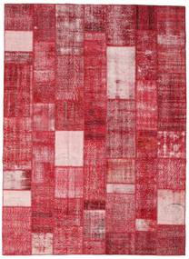 Patchwork Matto 254X350 Moderni Käsinsolmittu Punainen/Pinkki Isot (Villa, Turkki)